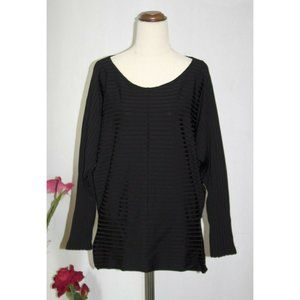 Country Road Black Long-sleeve Top Striped Size XL Stretch